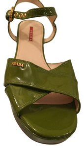 Prada Patent Leather Chunky Heel green Sandals