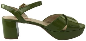 Prada Patent Leather Chunky Heel 41 Green Sandals