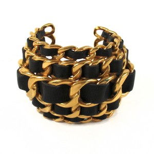 Chanel CUFF - XL WIDE CHAIN BRACELET VINTAGE BLACK GOLD LEATHER BANGLE CC