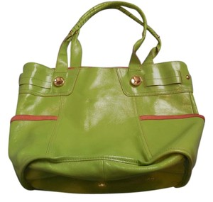 B. Makowsky Leather Suede Double Handles Logo Buttons Pockets Satchel in Green