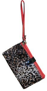 Olivia Harris Leopard Hair Calf Black Leather Wristlet Leopard Combo Clutch