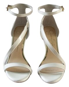 Jessica Simpson Patent Leather Open Toe White Sandals