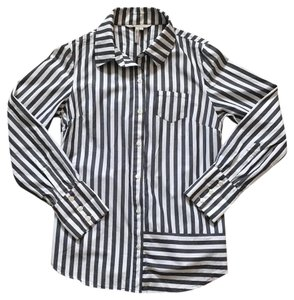 BCBGeneration Button Down Shirt Heathered black & white stripes