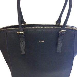 Pinko Leather Shopper Tote in Black