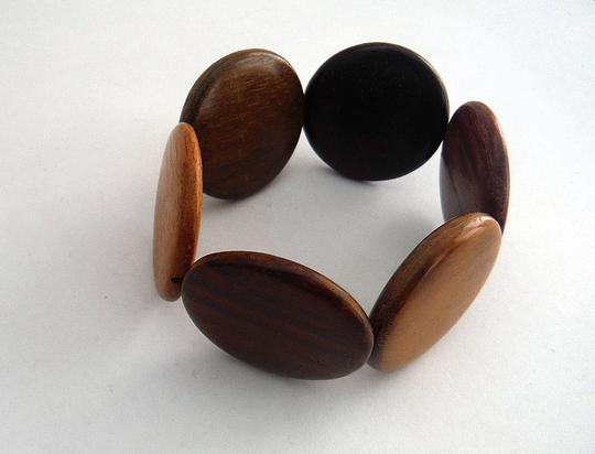 Other Polished wood disc bead stretch bangle bracelet