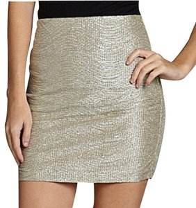 BCBGeneration Mini Metallic Bcbg Mini Skirt Gold