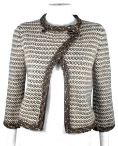 Chanel Tweed Chain Blazer Cardigan Brown Jacket