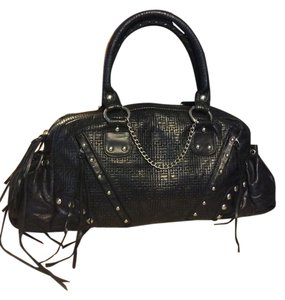 Sherry Wolf Moto Studded Leather Satchel in Black