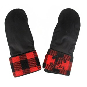 Chanel CHANEL GLOVES - CC LEATHER WOOL NYLON RED BLACK PLAID WOOL MITTENS