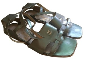 Chanel Leather Green Sandals