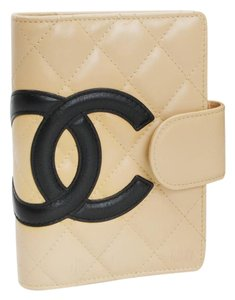 Chanel CHANEL Quilted Cambon Agenda CC Logo Leather Beige Agenda Ring Cover