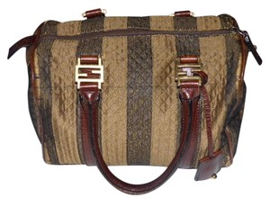 Fendi M-l Size Rare F Logo Accents Rare Body Excellent Vintage Satchel in wide striped canvas & brown leather