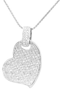 Other 166 ROUND DIAMOND HEART PENDANT 14 KARAT WHITE GOLD NECKLACE