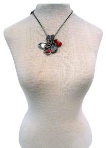 Chico's Large Adjustable Jeweled Floral Pendant Necklace
