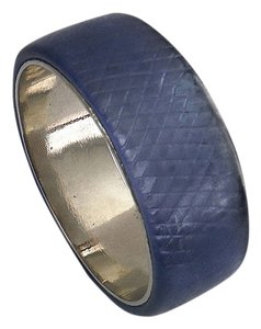 NEW Bracelet-- Blue Snake Skin Pattern Silver Bangle