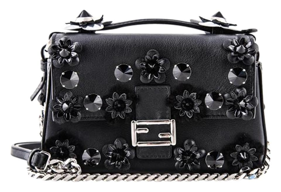 00e1cebd Fendi Flower-studded Two-tone Mink Black Leather Baguette 41% off retail
