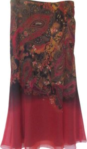 Coldwater Creek Skirt red with print