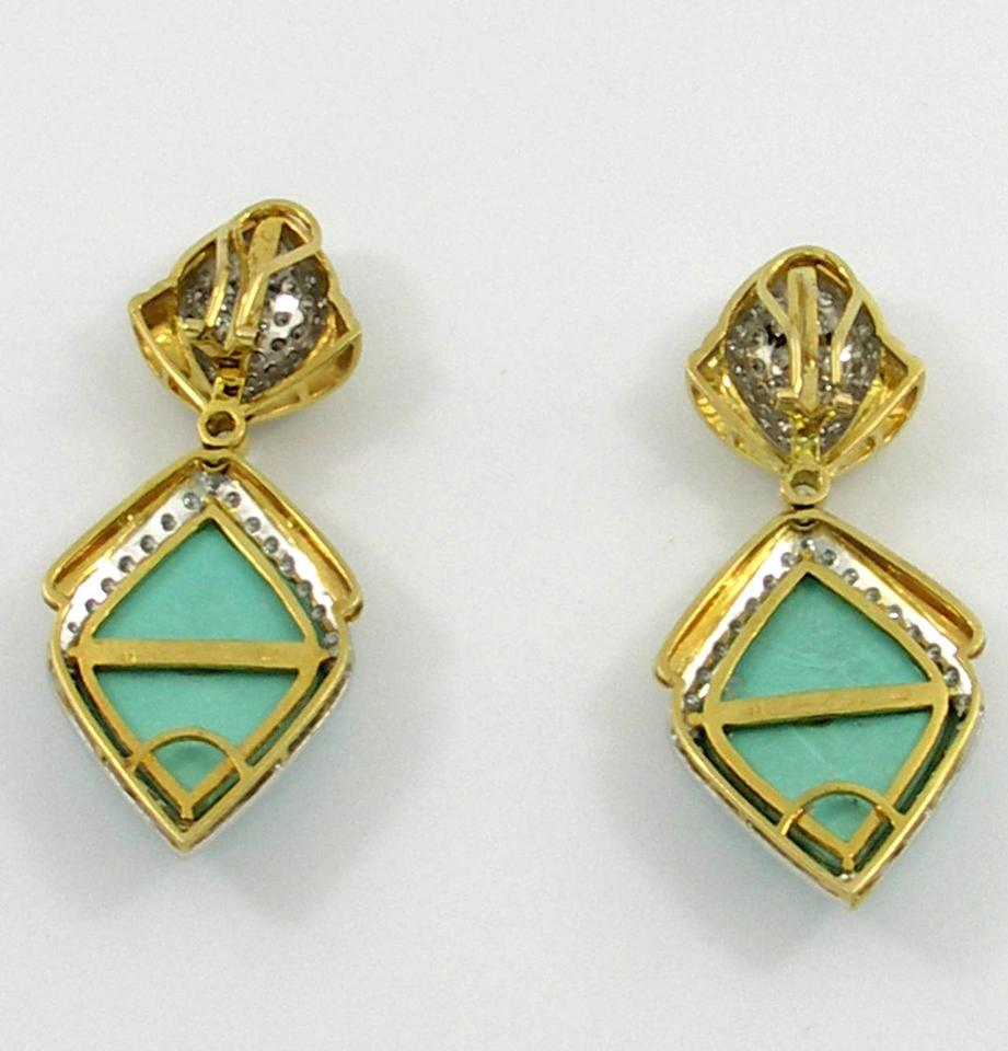 Other Diamond Turquoise Gold Drop Earrings