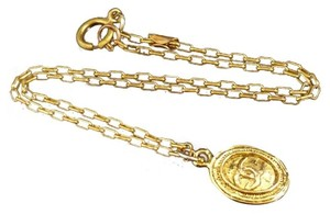 Chanel 100% Authentic Chanel Gold-Tone CC Logo Motif Necklace Pendant