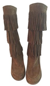 Ralph Lauren Fringe Boot Leather Brown Suede Boots