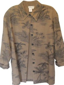 Coldwater Creek Top brown and black print
