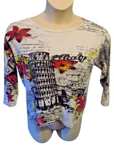 Jane Ashley Tee 3/4 Sleeve Multi-color Travel Whimsical T Shirt Red, Black and Gray