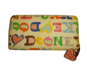 Dooney & Bourke DOODLE Ivory Multi Signature Zip Around Accordion Clutch Wallet