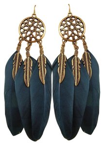 Other New Antiqued Gold Blue Feather Earrings J2915
