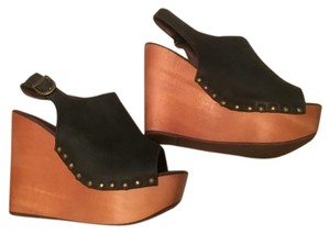 Jeffrey Campbell Black Leather Wedges
