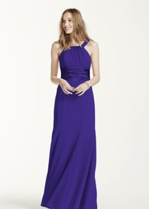 David's Bridal Lapis (Deep Purple) Chiffon Charmeuse Polyester) And Rounded Neckline Style F12732 Traditional Bridesmaid/Mob Dress Size 6 (S)