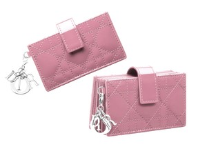 Dior Lady Dior expandable gusseted 5 pocket card holder in Lady Pink NWT