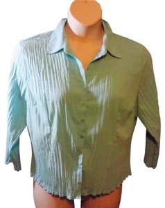 Fred David 3/4 Sleeve Solid Button Front Career Top Mint Green