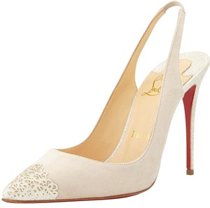 Christian Louboutin Ivory suede/glitter Pumps