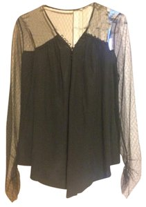 BCBGMAXAZRIA Bcbg Lace Silk Top Black