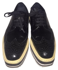 Prada Oxford Women Leather Black Platforms