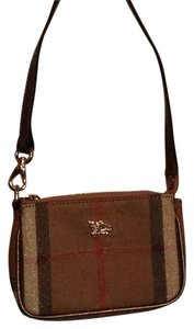 Burberry Wristlet in Plaid, Gold, Brown