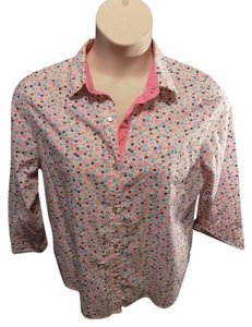 Alfred Dunner 3/4 Sleeve Cotton Casual Snap Front Print Button Down Shirt Multi-Color