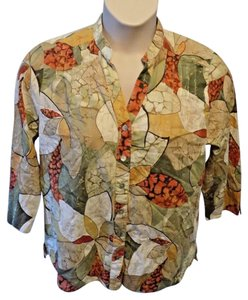 Alfred Dunner 3/4 Sleeve Cotton Casual Floral Neutral Button Down Shirt Multi-Color
