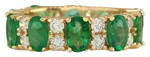 Fashion Strada Vintage 5.71CTW Natural Emerald & Diamond Ring In 14K Yellow Gold