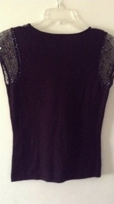 Apt. 9 Pretty Sheer Lace Beaded Sleeves Top black