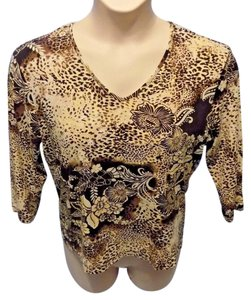 Chico's Casual Floral Rayon V-neck Top Brown and Beige