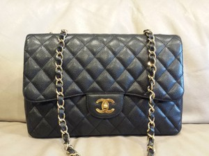 Chanel Jumbo Gold Hardware Caviar Flap Large Flap Shoulder Bag