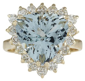 Fashion Strada Vintage 5.84CTW Natural Aquamarine & Diamond 14K Gold Ring