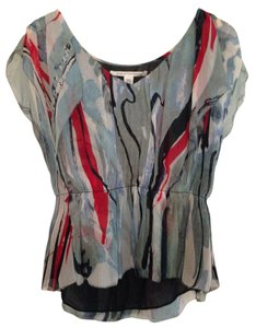 Diane von Furstenberg Dvf Silk Abstract Print Top blue/red/black print