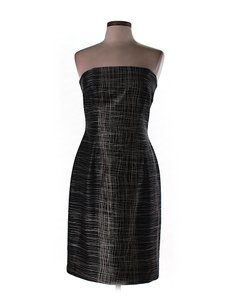 David Meister Silk Print Strapless Shift Sheath Dress