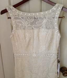 Sue Wong Ivory Polyester Floral Beads Embelished Modest Wedding Dress Size 8 (M)