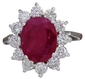 Fashion Strada Vintage 4.03CTW Natural Red Ruby Diamond Ring 14K Solid White Gold