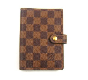 Louis Vuitton Agenda PM Damier Ebene Canvas Leather Notebook Day Planner Cover