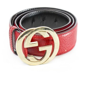 Gucci GUCCI Red Leather Belt with Interlocking G Gold Buckle 80 32