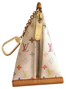 Louis Vuitton Keychain Coin Pouch Wristlet in Multicolor monogram white